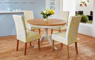 Buttercup Round Fixed Top Table & Set of 4 Upholstered Chairs Buttercup