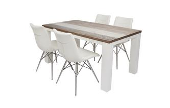 Medium Fixed Dining Table & Set of 4 Ambra Chairs Cabrilo Chair
