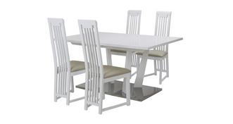 Canova Extending Dining Table & Set of 4 Slat Back Chairs