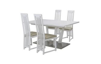 Extending Dining Table & Set of 4 Slat Back Chairs Canova