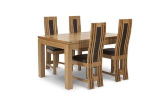 Large Extending Table & Set of 4 Chairs American Oak