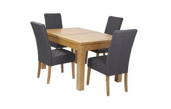 Large Extending Table & Set of 4 Tunis Light Leg Chairs American Oak