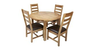Chateaux Round Extending Table & Set of 4 Ladderback Chairs