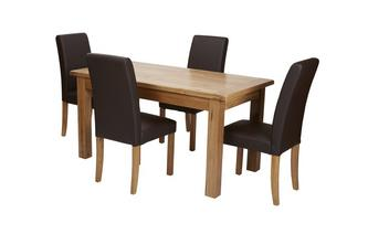 Small Extending Table & Set of 4 Brown Faux Leather Chairs Chateaux