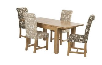 Small Extending Table and Set of 4 Chicago Floral Upholstered Chairs Chateaux