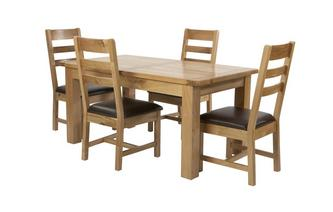 Large Extending Table and Set of 4 Ladder Back Chairs
