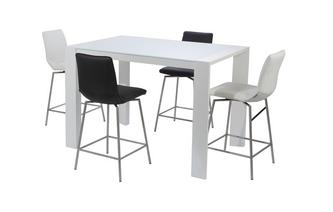 Bar Table and Set of 4 Bar Stools White High Gloss