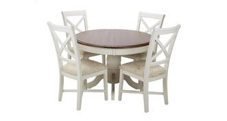 Clermont Round Extending Table & Set of 4 Cross Back Chairs