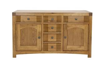 Large Sideboard with 2 Doors and 6 Drawers Colorado Oak