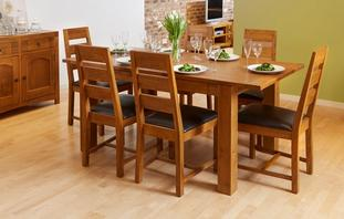 Colorado Small Extending Dining Table & Set of 4 Ladderback Chairs Colorado Chair