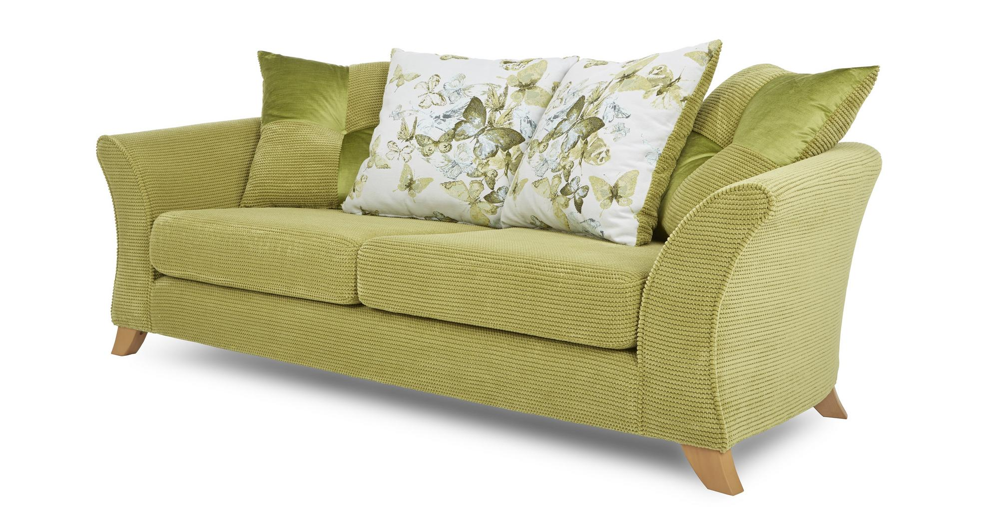 Dfs Corinne Lime Green Fabric 3 Seater Pillow Back Sofa Ebay