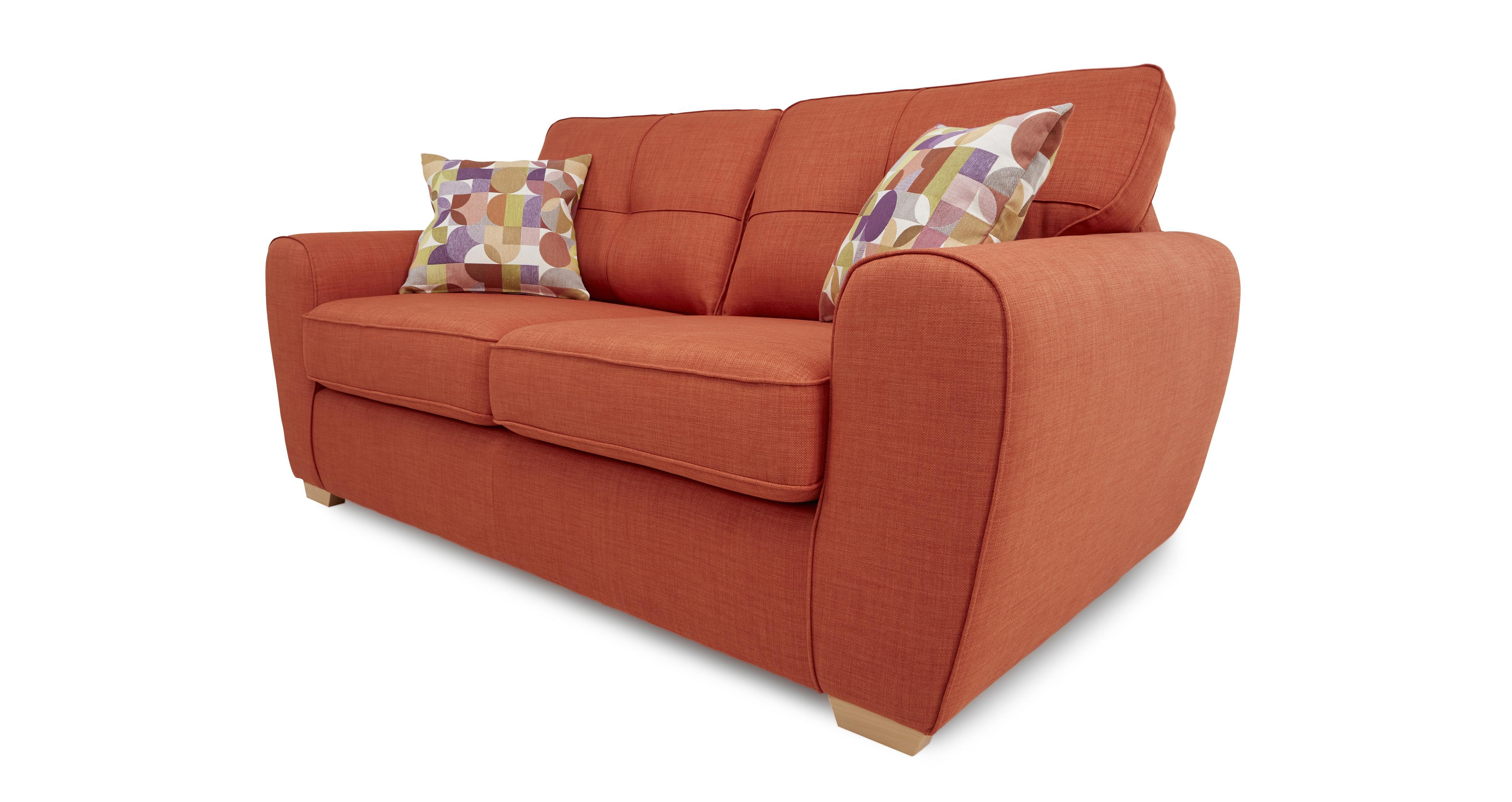 DFS Corona Orange Fabric Sofa Set Inc 2 Seater Sofa Bed