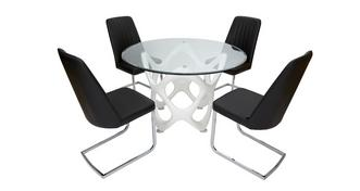 Crater Fixed Table & Set of 4 Chairs
