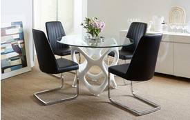 Crater Fixed Table & Set of 4 Chairs Crater