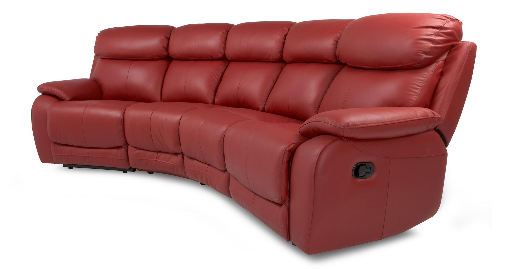 Dfs Daytona Red 100 Leather Recliner Set Inc 4 Seater Curved Sofa Armchair Ebay