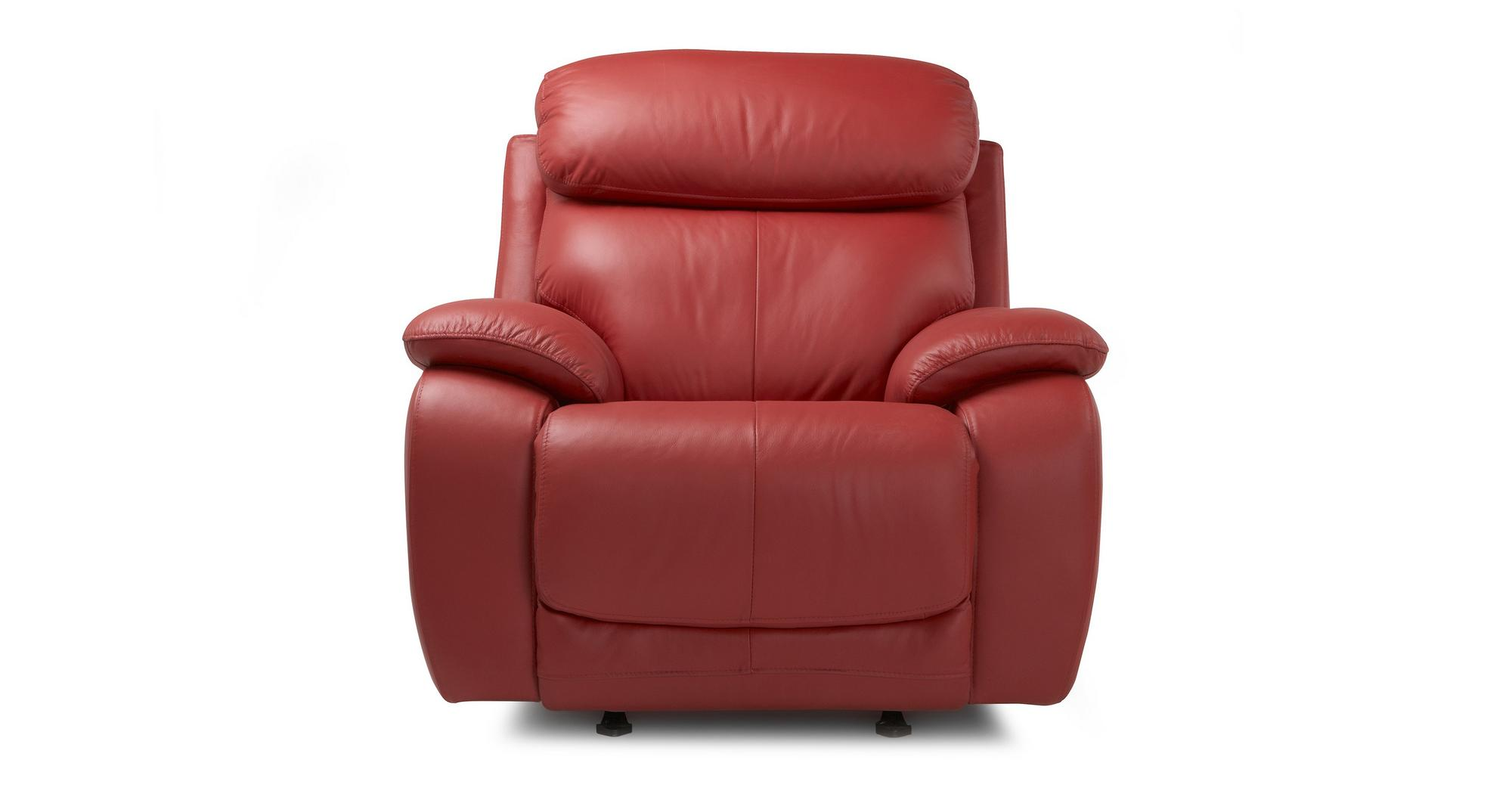 Red Leather Rocking Chair ~ Dfs daytona rosso red leather rocker recliner chair ebay
