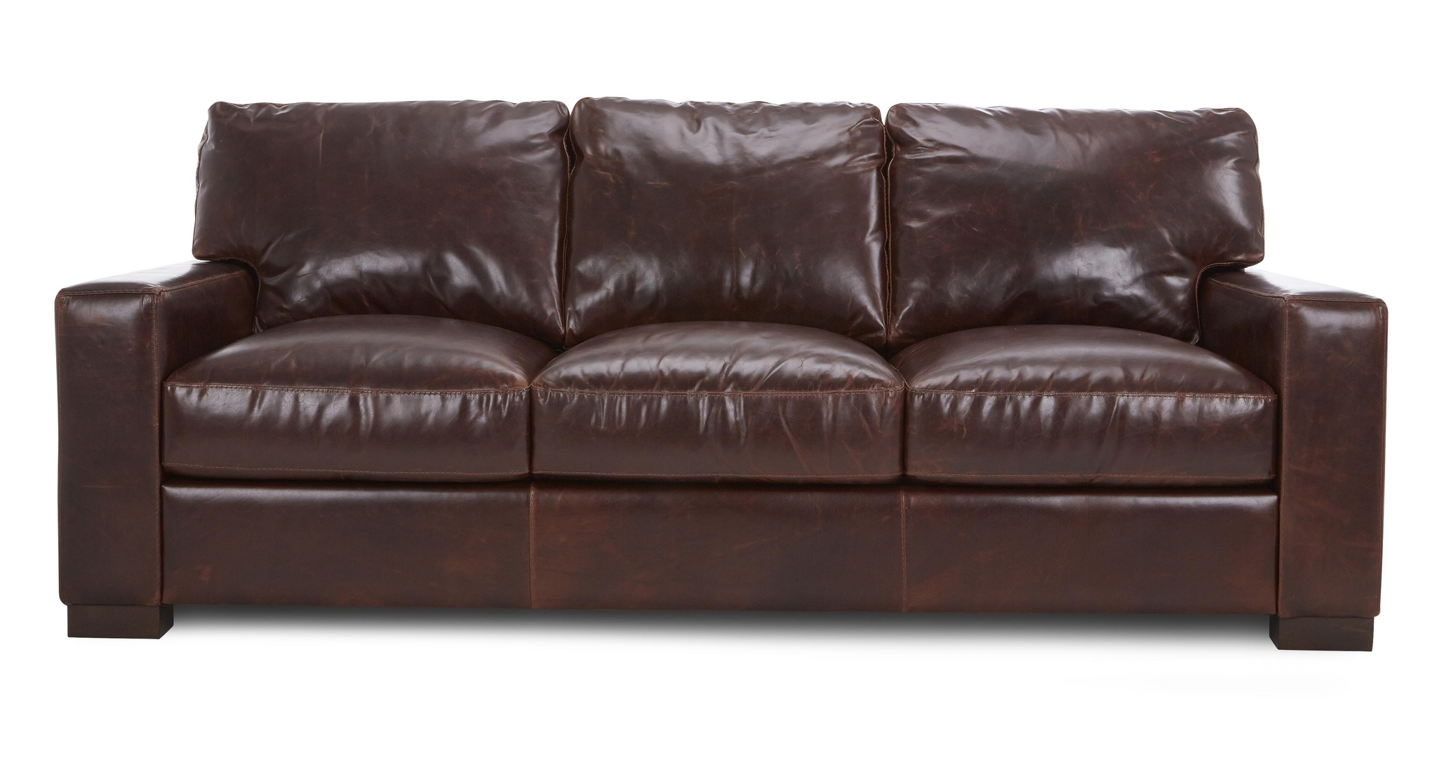 Dfs Brompton Mahogany Brown Leather 3 Seater Sofa Ebay