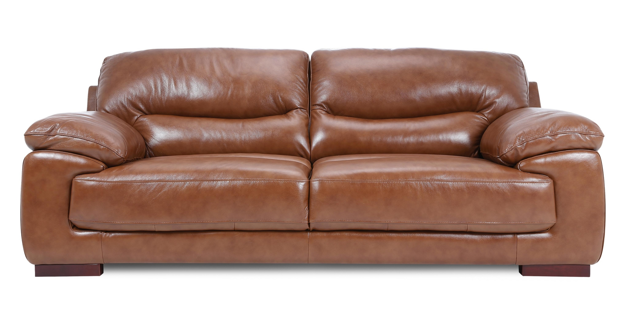 Dfs Dazzle Settee Brandy Colour Couch 3 Seater Leather Sofa