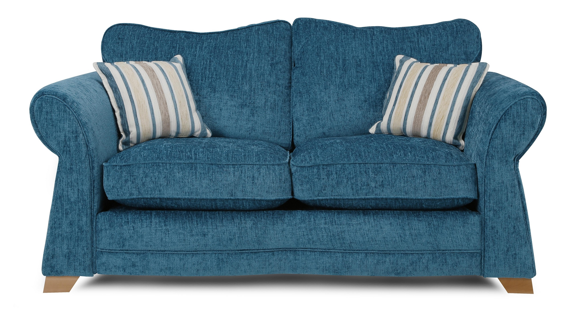 Dfs Elin Teal Formal Back 2 Seater Fabric Sofa Bed
