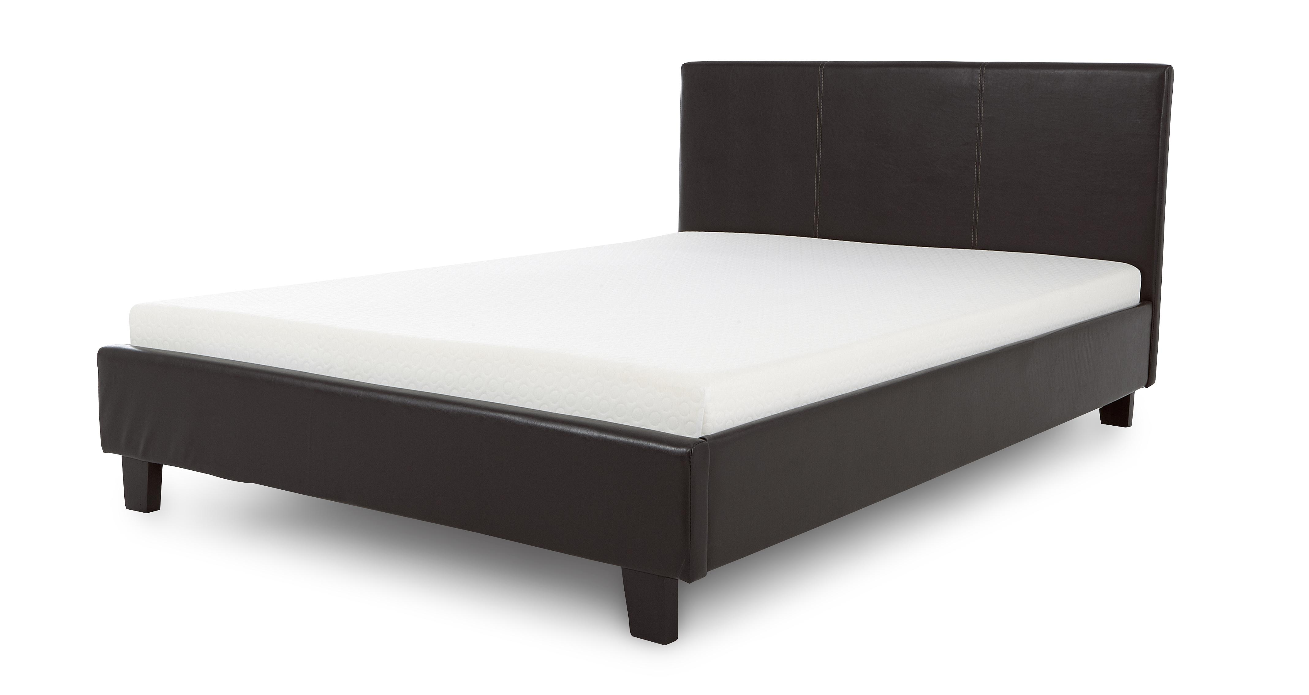 """DFS Relax 4Ft 6"""" Double Leather Bed Frame and Memory Foam"""