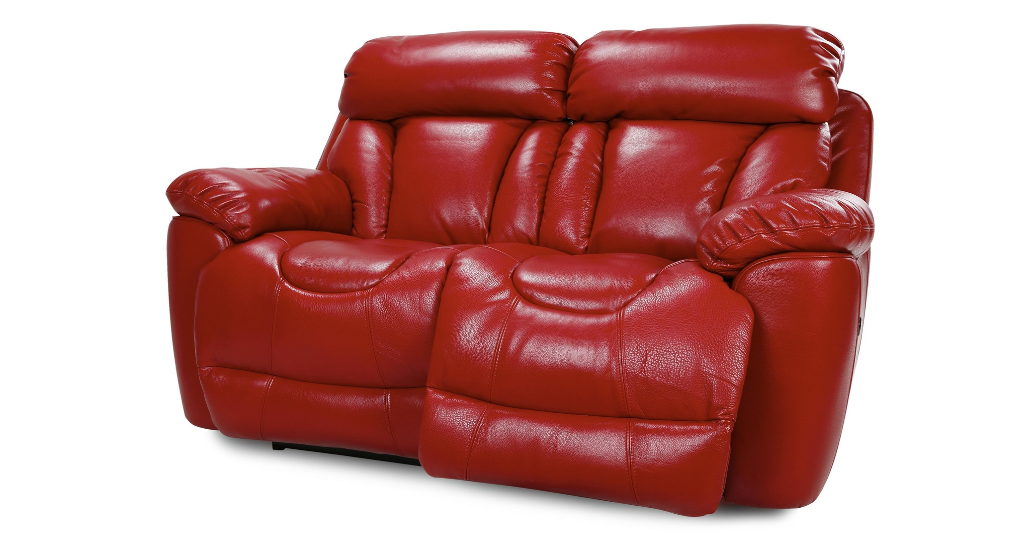 Dfs supreme settee 2 seater red leather power recliner for Red leather sectional reclining sofa