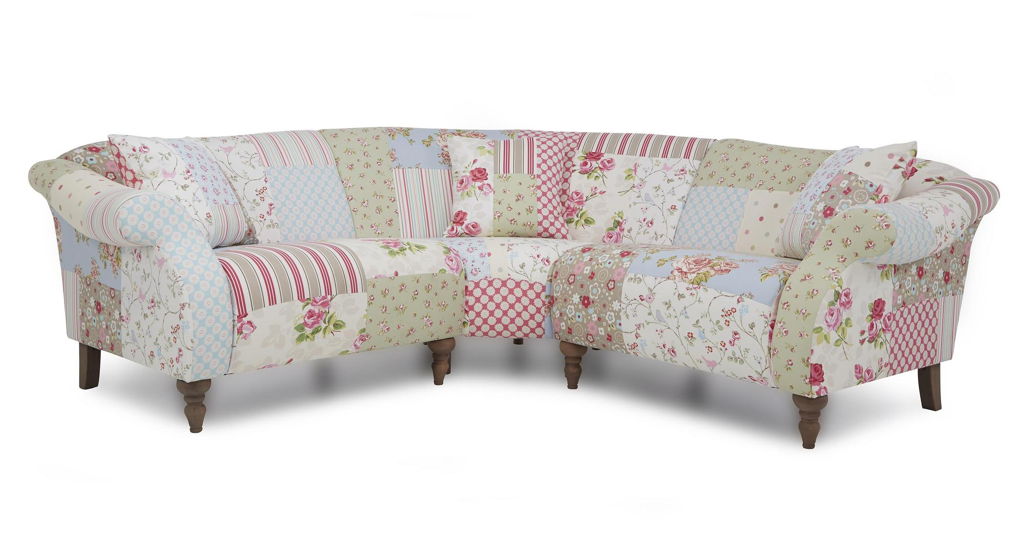 Doll fabric patchwork sofa set inc 3 piece corner chair for Sofa patchwork