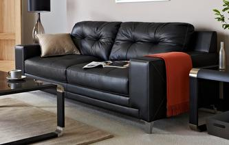 Domain Leather and Leather Look 3 Seater Sofa Le Mans