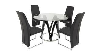 Drift Fixed Table & Set of 4 Chairs