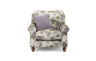 Floral Armchair with Plain Scatter Cushion