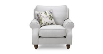 Ellie Plain Armchair with Floral Scatter Cushion