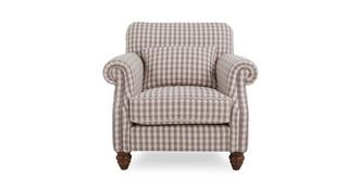 Ellie Check Accent Chair with Check Bolster Cushion
