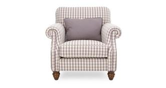 Ellie Check Accent Chair with Plain Bolster Cushion