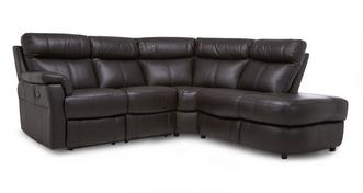Ellis Option B Leather and Leather Look Left Arm Facing 2 Piece Manual Recliner Corner Sofa