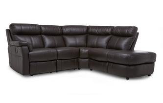 Option B Leather and Leather Look Left Arm Facing 2 Piece Manual Recliner Corner Sofa Essential