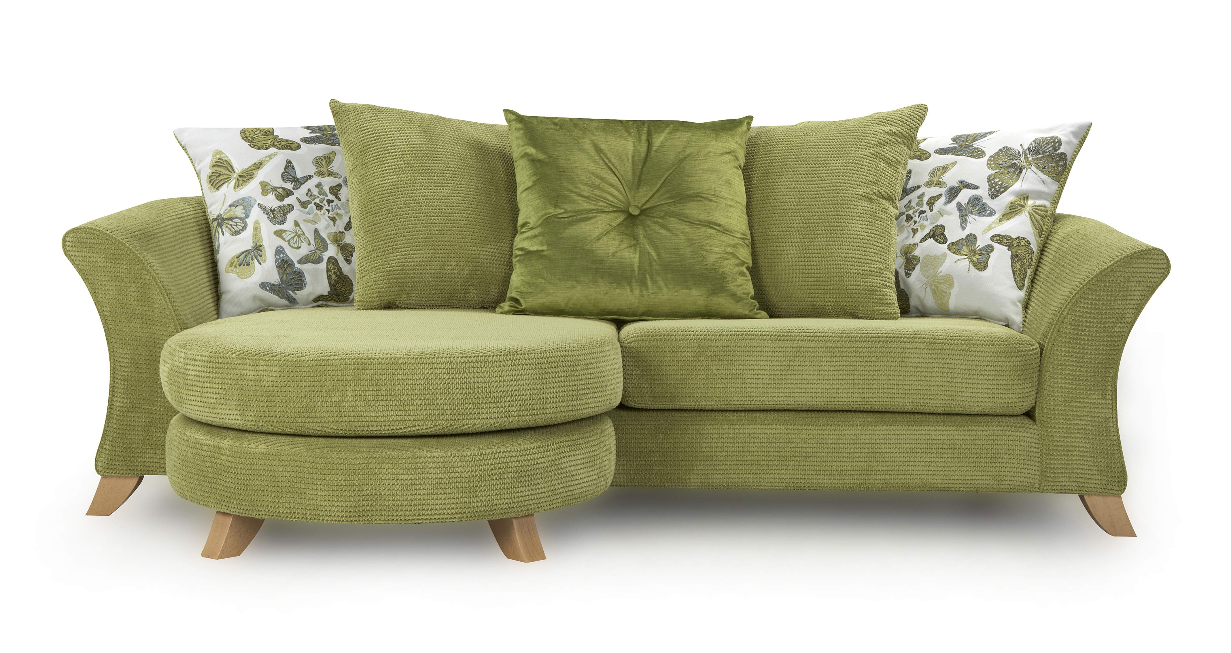 DFS Escape Set - 4 Seater Lime Green Lounger Sofa, Accent Chair and Foot Stool : eBay