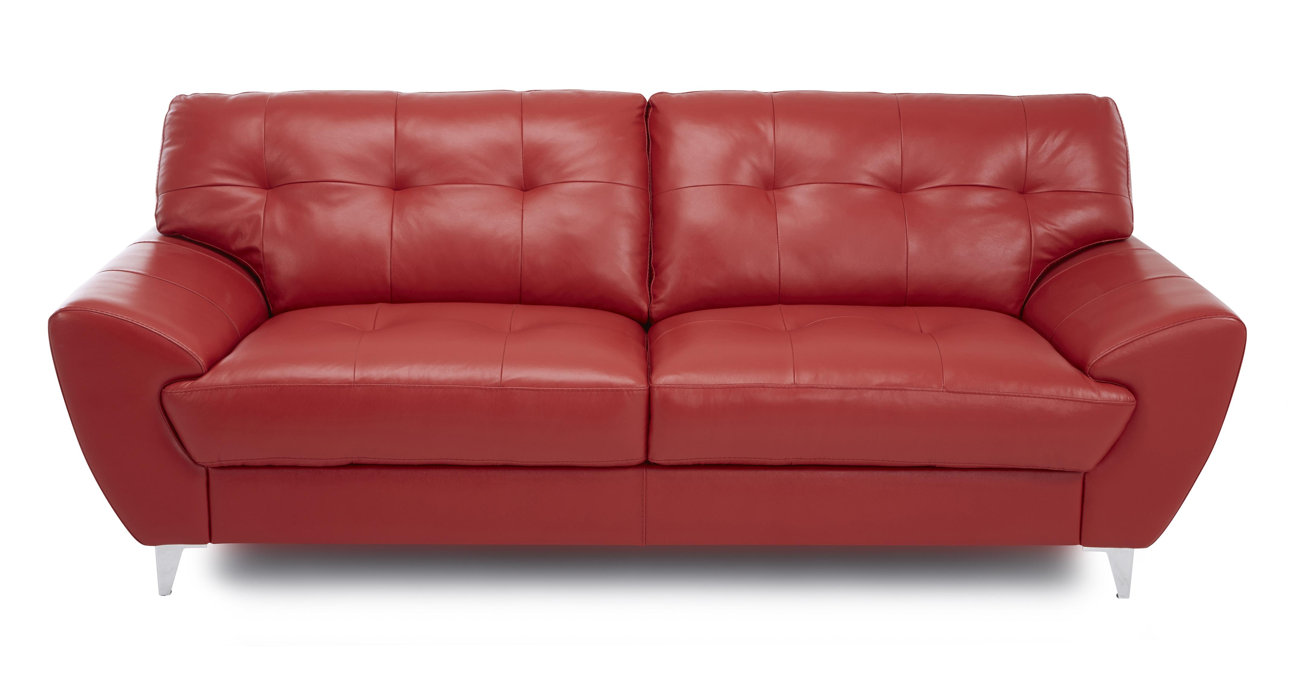 DFS Fabia Red Leather Sofa Set Inc 3 Seater 2 Seater