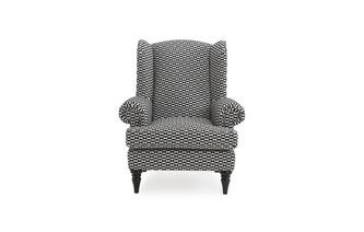 Pattern High Back Wing Chair Bizarre Pattern
