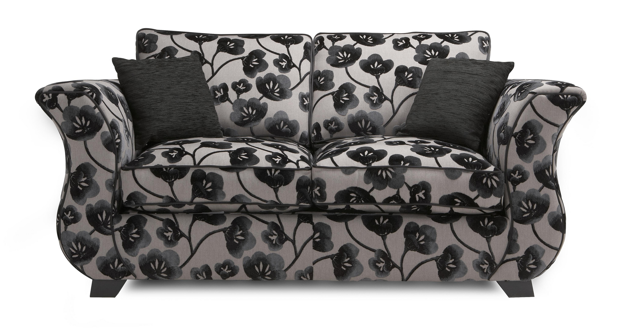 Dfs Felicity Fabric Black And Grey Pattern Settee 2 Seater