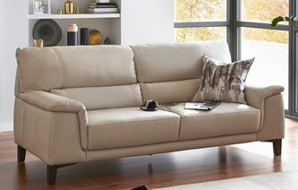 Fiji Leather and Leather Look 3 Seater Sofa Premium