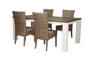 Medium Fixed Table & Set of 4 Rattan Chairs Francine