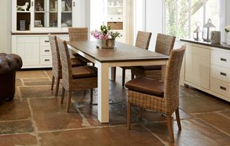 Francine Medium Fixed Table & Set of 4 Rattan Chairs Francine