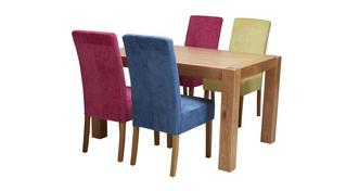 Funk Fixed Dining Table & Set of 4 Upholstered Chairs