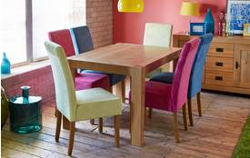 Funk Fixed Dining Table & Set of 4 Upholstered Chairs Funk