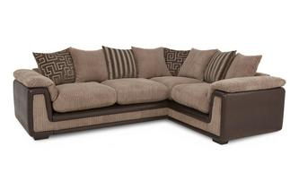 Left Hand Facing 2 Seater Pillow Back Corner Sofa with Removable Arm