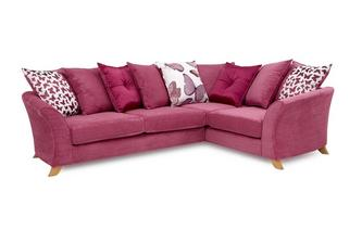 Left Hand Facing 2 Piece Pillow Back Corner Sofa Gloss