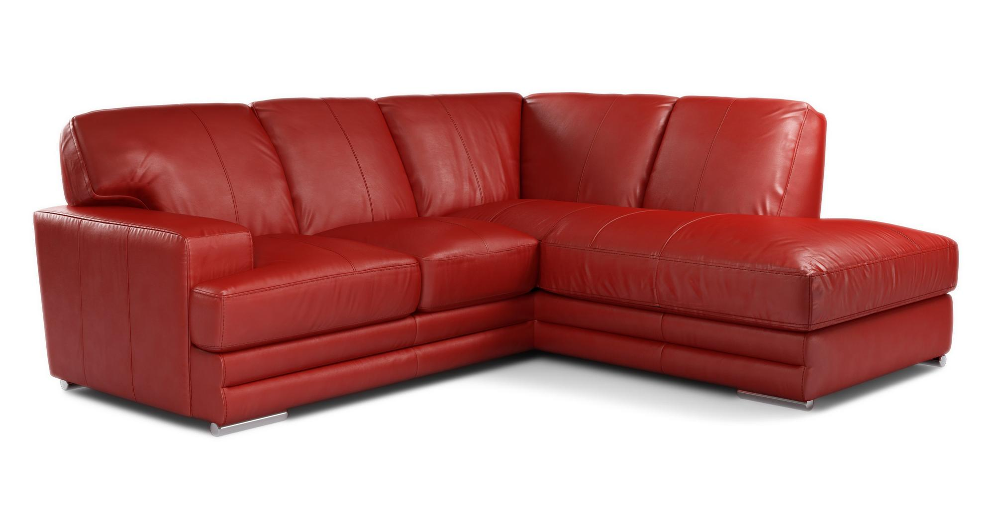 DFS Glow Enzo Red Leather Left Hand Facing Sofa Armchair