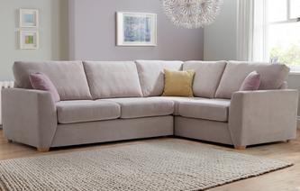 Gracie Left Hand Facing  2 Seater Corner Deluxe Sofa Bed Sherbet