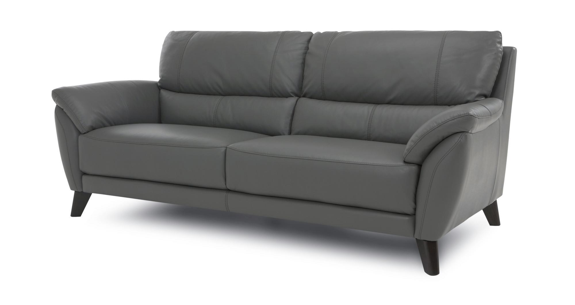 Dfs Graduate Graphite Grey Leather 3 Seater Sofa Stool