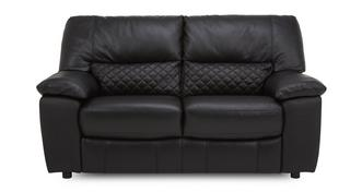 Grid Leather and Leather Look 2 Seater Sofa