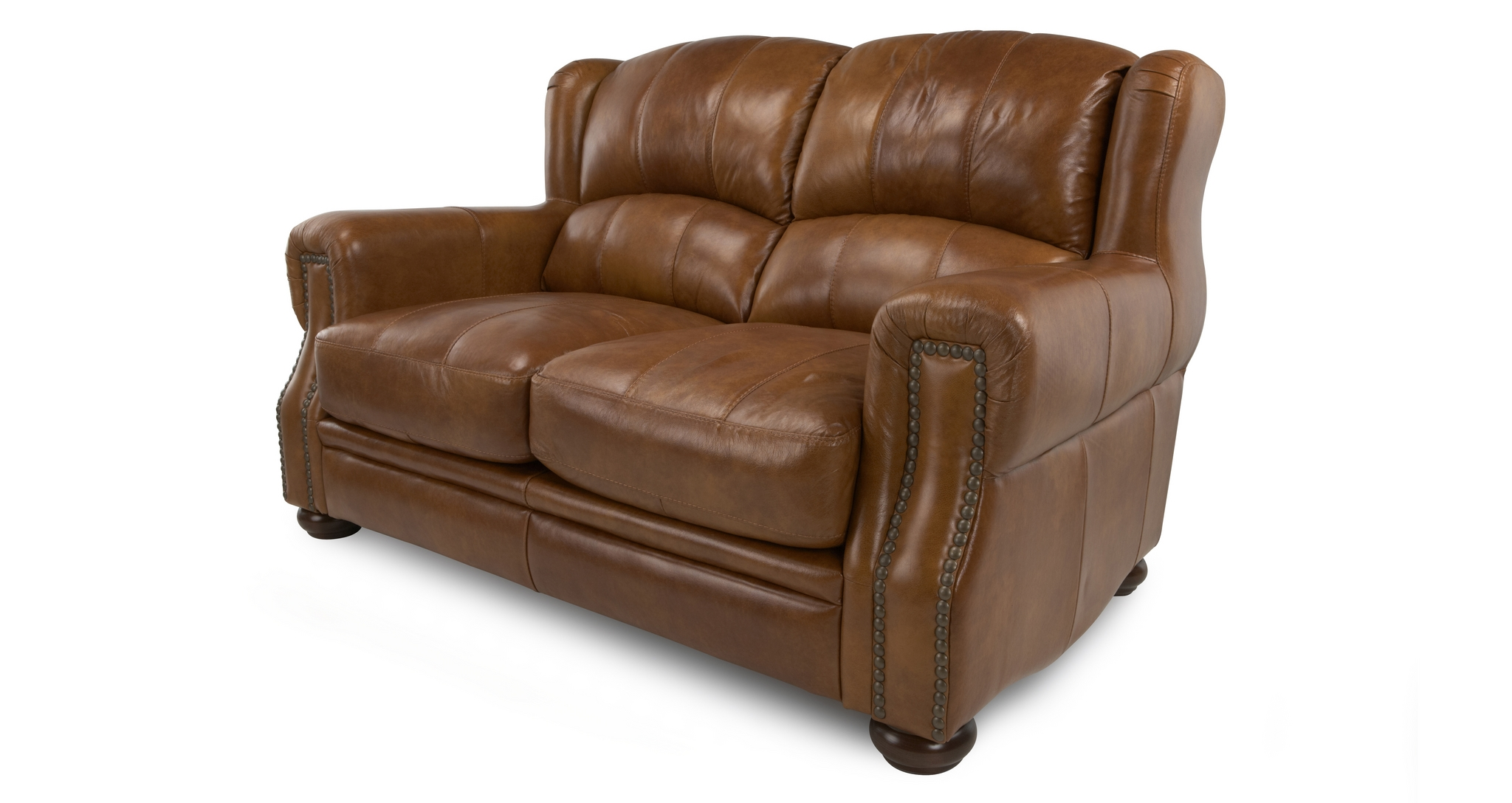 Dfs Hale Natural Leather Chestnut Brown Suite 2 Seater